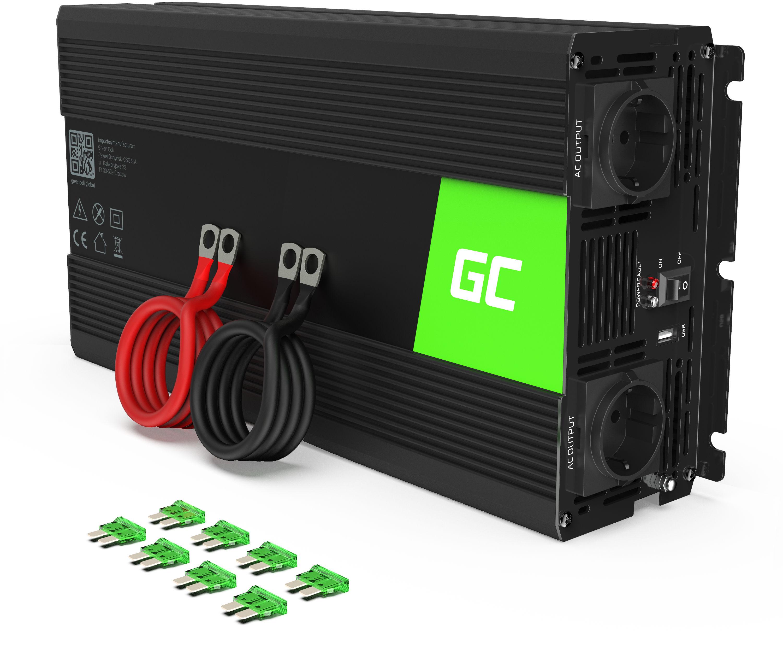 Przetwornica napięcia Inwerter Green Cell  12V na 230V 1500W/3000W Czysta sinusoida