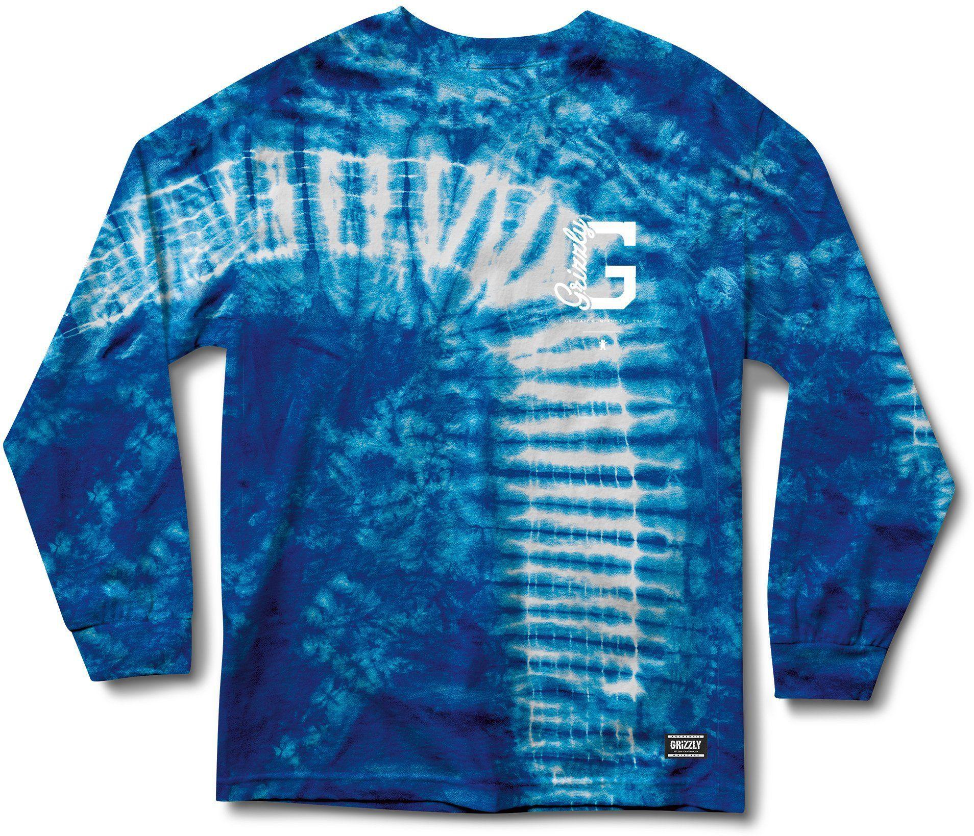t-shirt męski GRIZZLY BLUE HEAVEN TIE-DYE LS TEE Tie Dye