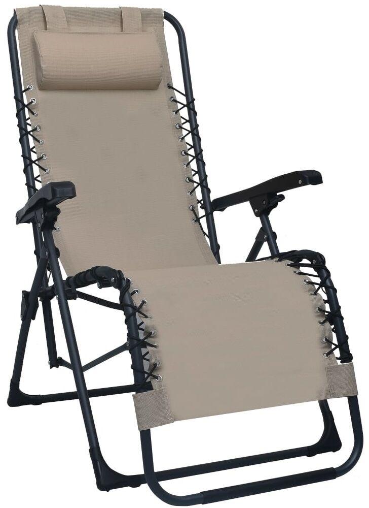 Szarobrązowe składane krzesło tarasowe  Rovan