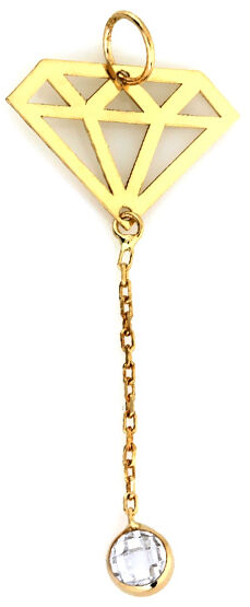 Złota przywieszka 585 krawatka diamencik z cyrkonią