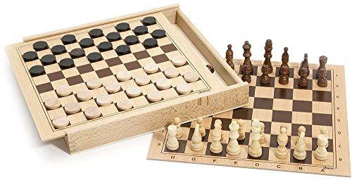 Jeujura J8133 zestaw do gry w szachy w drewnianym pudełku, wielokolorowy