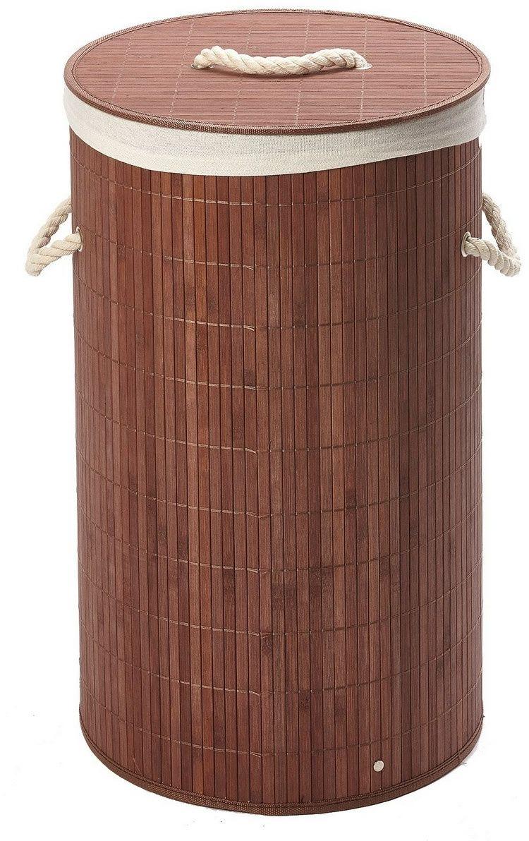 Okrągły bambusowy kosz na pranie