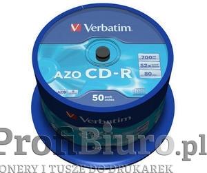 Płyty Verbatim CD-R 700MB 52x - Cake Box - 50 szt. - Crystal
