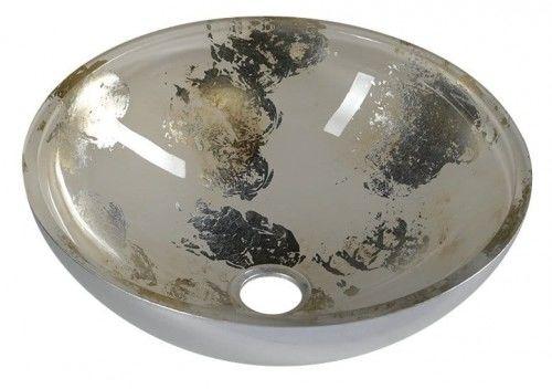 Umywalka szklana 40x14cm-Szkło Weneckie z MURANO Hand Made ANIMA 2 . okrągła , srebro/beżowy
