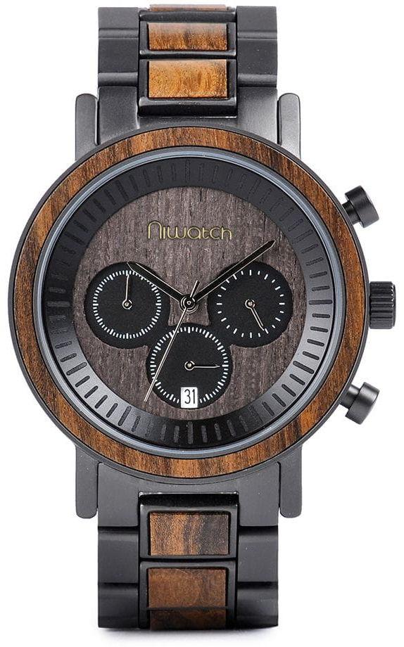 Zegarek drewniany Niwatch - kolekcja ROYAL - CHACATE PRETO na bransolecie