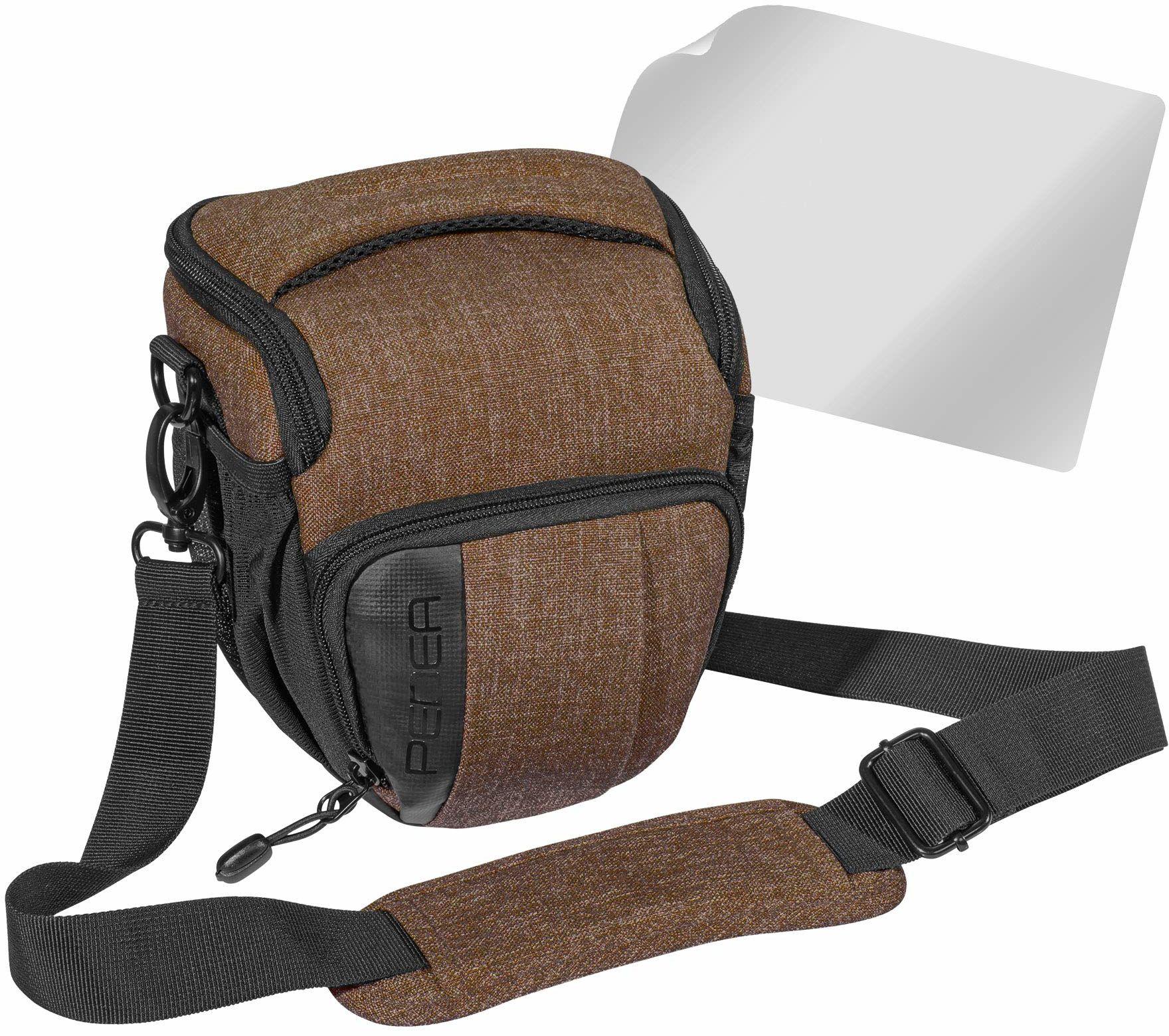 """PEDEA DSLR torba na aparat """"Fashion"""" z folią ochronną na wyświetlacz do Canon EOS 5D Mark II 400D 2000D / Nikon D60 D80 D90 D3100 D3200 D3300 D3400 D5300 D7100 / Pentax K 50 K 500, rozm. M brązowy"""