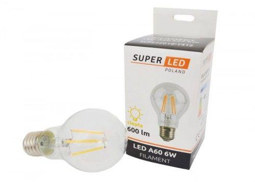 Żarówka LED E27 6W Filament Edison kula biała ciepła