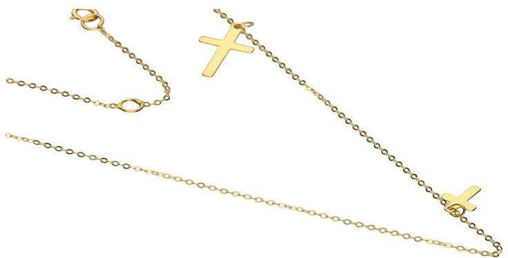 Złoty naszyjnik 333 łańcuszek z krzyżykiem 45 cm