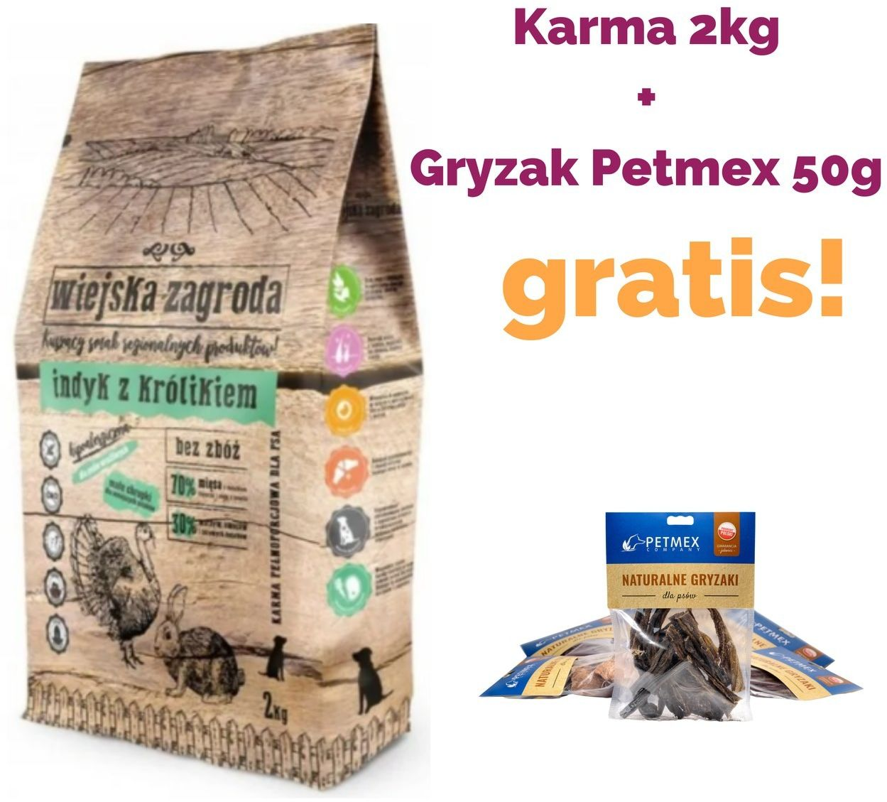 WIEJSKA ZAGRODA  Indyk z królikiem karma sucha dla psa 2kg + PETMEX 50G