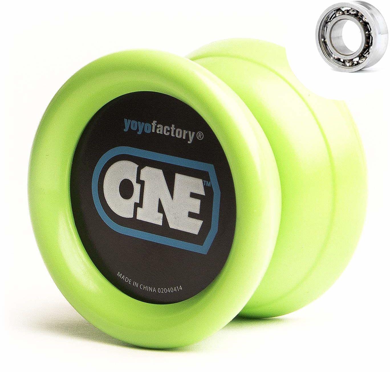 YoyoFactory ONE Yo-Yo - niebieski (nowoczesny jojo spinningowy, początkujący do profesjonalistów, w zestawie 2 łożyska kulkowe o różnych poziomach, w zestawie ze sznurkiem)