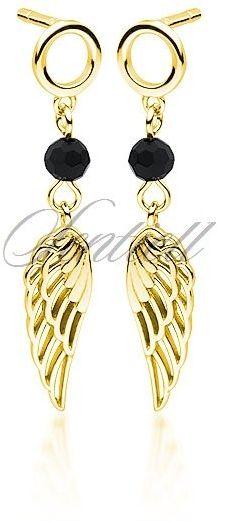 Srebrne pr.925 pozłacane kolczyki skrzydła z czarną cyrkonią / spinelem - żółte złoto czarny
