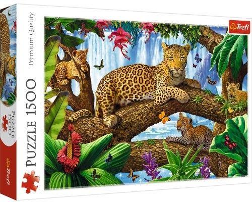 Trefl Duże Puzzle 1500 elementów Odpoczynek Wśród Drzew Lamparty Zwierzęta Trefl 5489-uniw