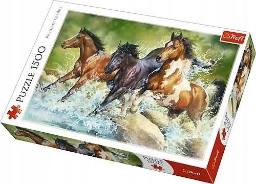Trefl Duże Puzzle 1500 elementów Trzy Dzikie Konie Trefl 5491-uniw