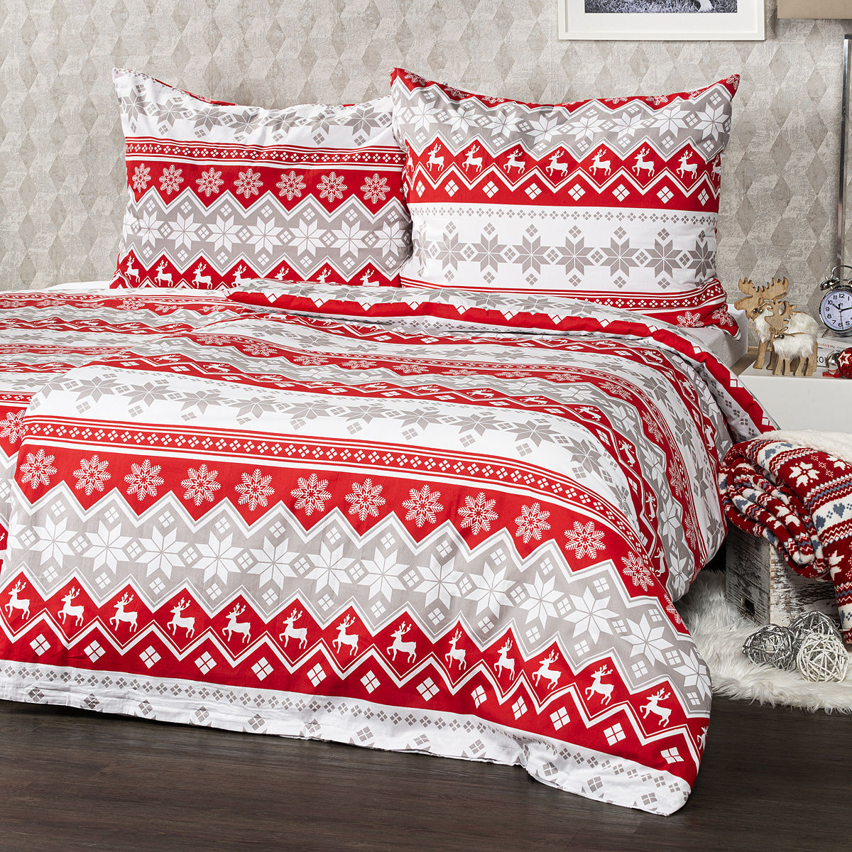4Home Pościel bawełniana Red Nordic, 220 x 200 cm, 2 szt. 70 x 90 cm