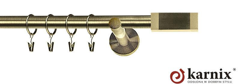 Karnisz nowoczesny NEO pojedynczy 16mm Salerno antyk mosiądz