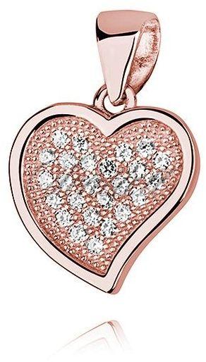 Srebrna zawieszka pr.925 serce z cyrkoniami różowe złoto
