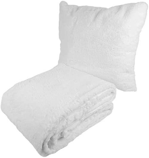 Poduszka dekoracyjna i koc Aimee 500 2-częściowy zestaw biały