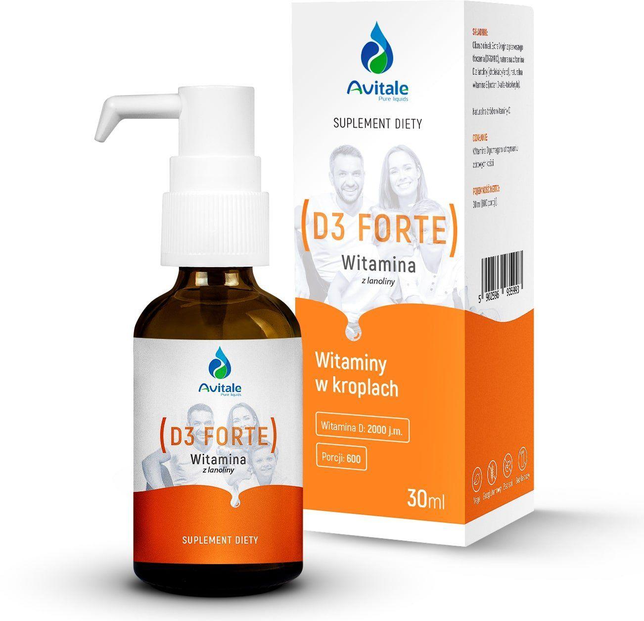Witamina D3 Forte 2000 IU z Lanoliny 30 ml w płynie krople Avitale Aliness