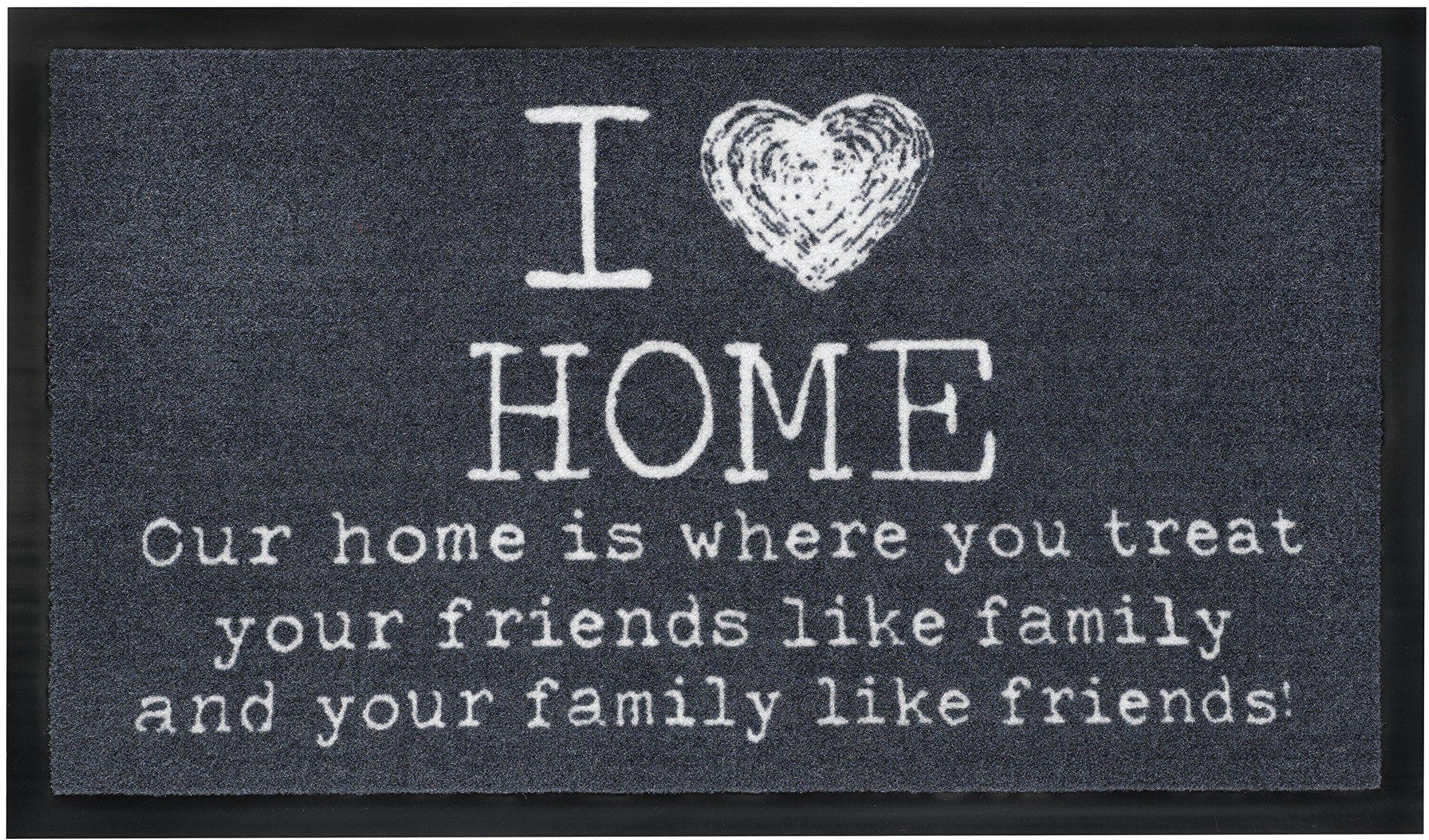 """HMT 55550 """"I Love Home"""" wycieraczka podłogowa, odporna na zabrudzenia, z poliamidu, 45 x 75 cm, antracyt, 45 x 75 cm"""