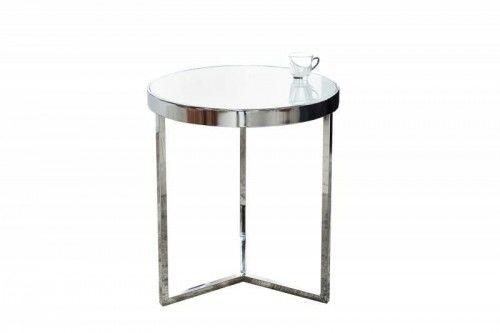 Stolik Art Deco 50 cm biały nogi chrom Invicta