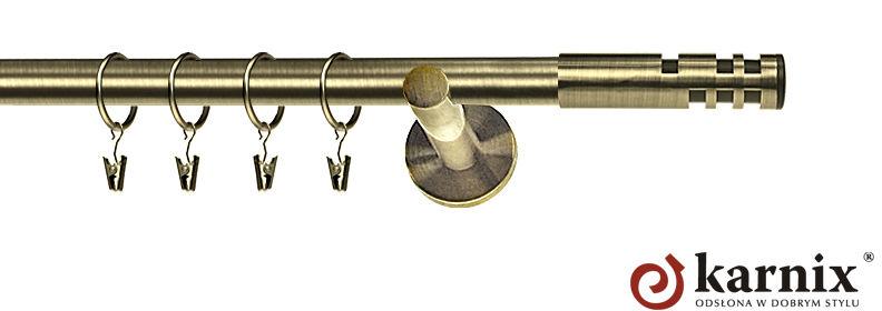 Karnisz nowoczesny NEO pojedynczy 16mm Salsa antyk mosiądz