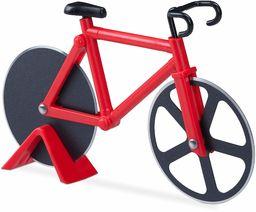 Relaxdays rower nóż do pizzy, zabawny wałek do pizzy z kółkami ze stali nierdzewnej, nóż do pizzy i ciasta, czerwony