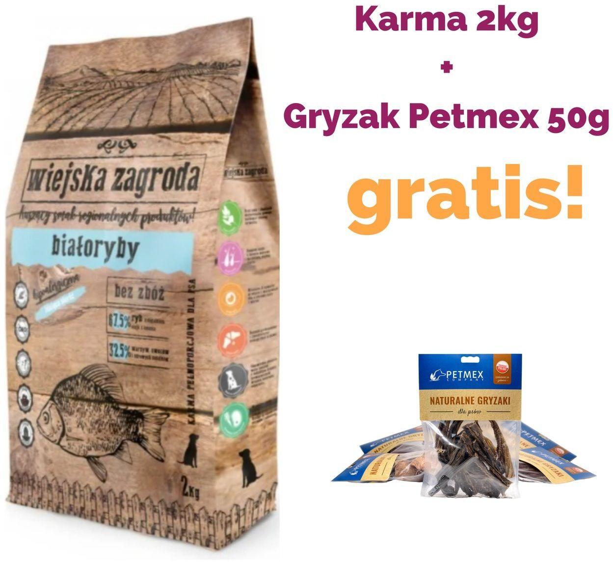 WIEJSKA ZAGRODA  Białoryby karma sucha dla psa 2kg + PETMEX 50G