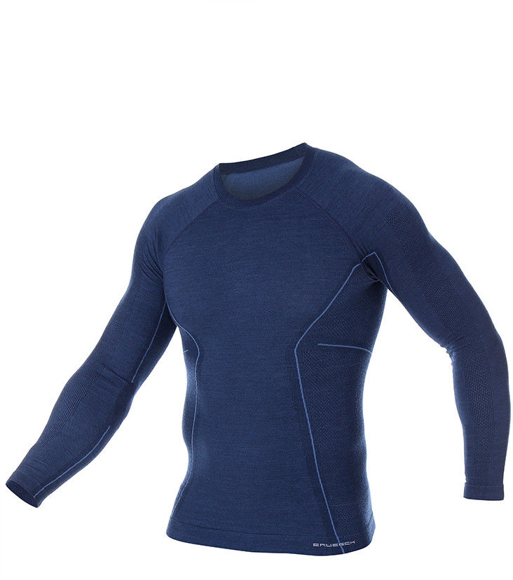 Męska koszulka termoaktywna Brubeck Active Wool LS12820 navy