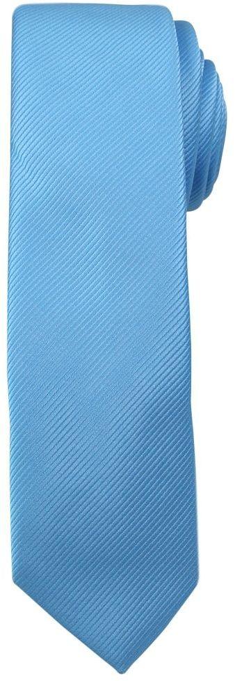 Jednokolorowy Krawat Męski, Śledź - 5 cm - Angelo di Monti, Niebieski KRADM1414