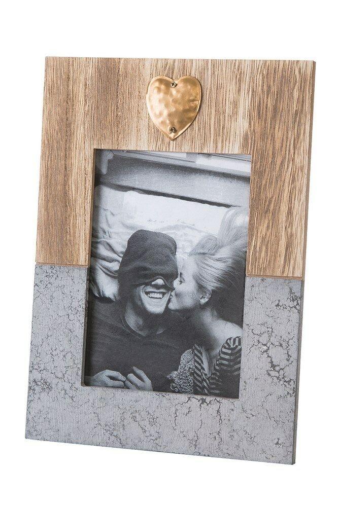Ramka na zdjęcia 19x2x27 Heart 03 drewniana szara złote serce Eurofirany