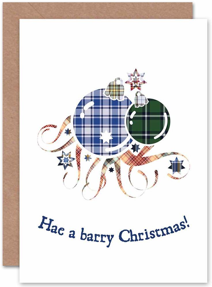 Wee Blue Coo Świąteczne prezenty z okazji Świąt Barry TARTAN BAUBLES nowa kartka podarunkowa z pozdrowieniami