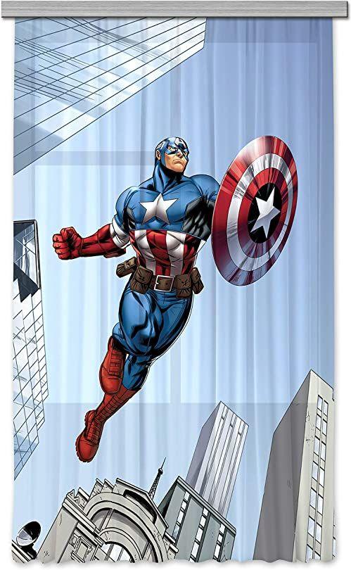 AG Design Avengers Marvel Captain America firanka/zasłona do pokoju dziecięcego, 1 część, tkanina, wielokolorowa, 140 x 245 cm