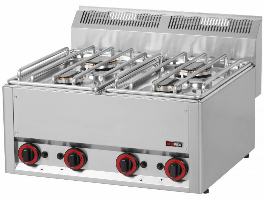 Kuchnia gazowa nastawna 2x 3000W + 2x 3600W 660x600x(H)290mm
