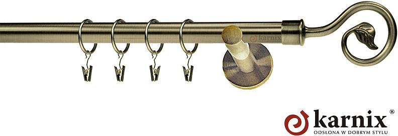 Karnisz nowoczesny NEO pojedynczy 16mm Spiralka antyk mosiądz