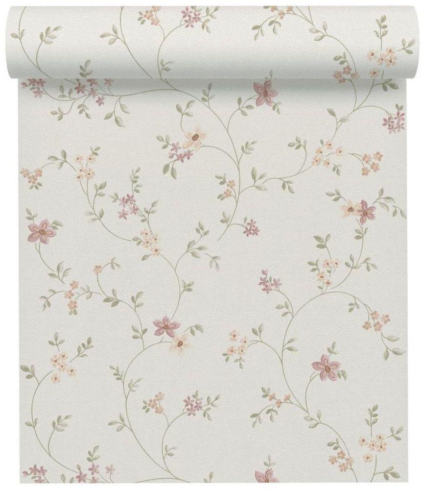 Tapeta w kwiaty biała winylowa na flizelinie