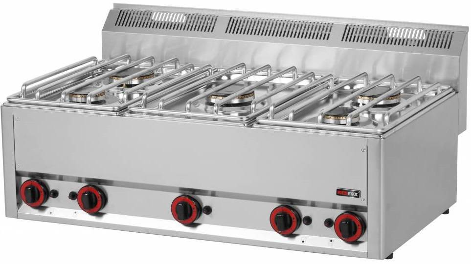 Kuchnia gazowa nastawna 2x 3000W + 3x 3600W 900x500x(H)290mm