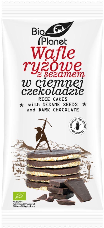 Wafle ryżowe z sezamem w ciemnej czekoladzie bezglutenowe bio 100 g - bio planet
