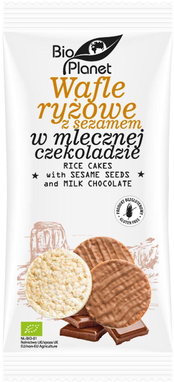 Wafle ryżowe z sezamem w mlecznej czekoladzie bezglutenowe bio 100 g - bio planet