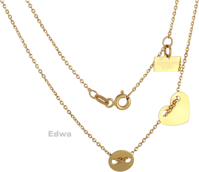 Łańcuszek złoty celebrytka z serduszkiem pr.585 38-40 cm