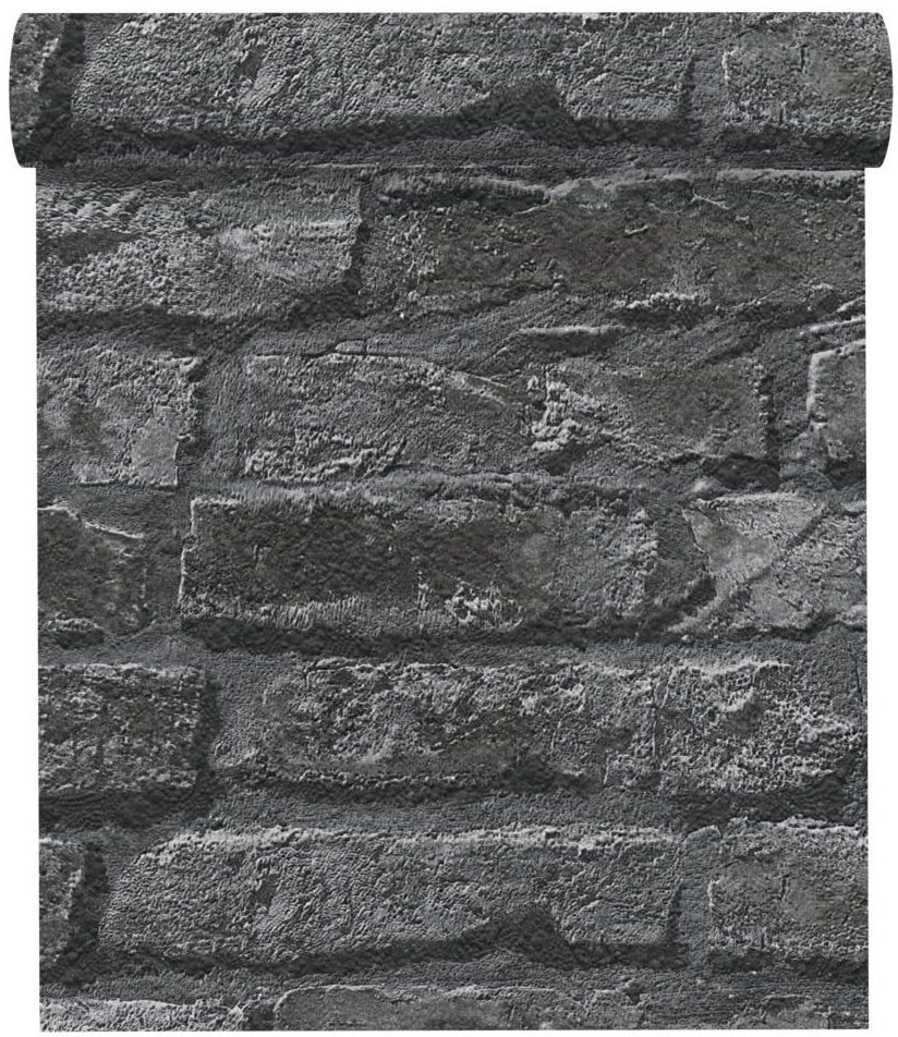 Tapeta 3D Kamienie ciemnoszara imitacja kamienia papierowa