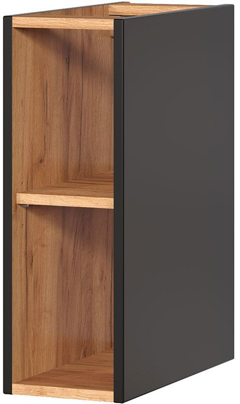 Szafka łazienkowa z odkrytymi półkami - Malta 8X Czarny mat