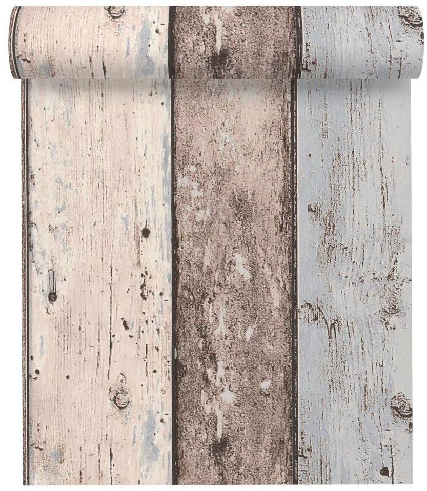 Tapeta Drewno beżowo-niebieska imitacja deski winylowa na flizelinie