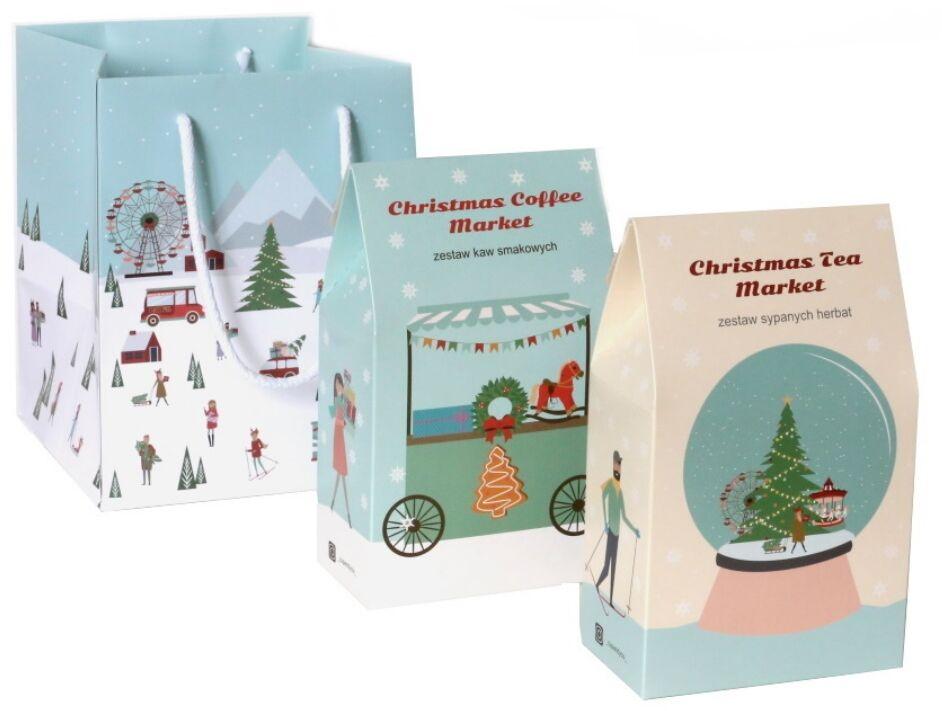 Christmas Set. Świąteczny prezent  zestaw 10 herbat 10x5/8g różnego rodzaju i smaku w świątecznym charakterze oraz zestaw 10 kaw mielonych w różnych smakach 10x10g + śliczna torebka prezentowa idealna pod choinkę i na Mikołaja
