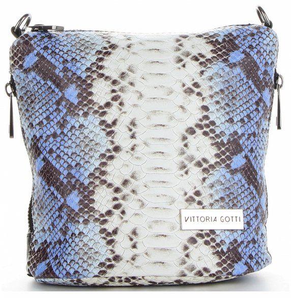 Torebki Skórzane Listonoszki motyw węża firmy VITTORIA GOTTI Niebieska (kolory)