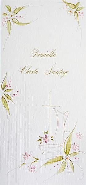Karnet Chrzest DL C07 - Krzyż dziewczynka - MAK