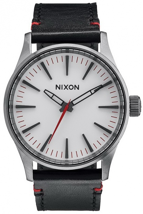 Nixon SENTRY 38 LEATHER GUNMETAL/WHITE analog mens watch