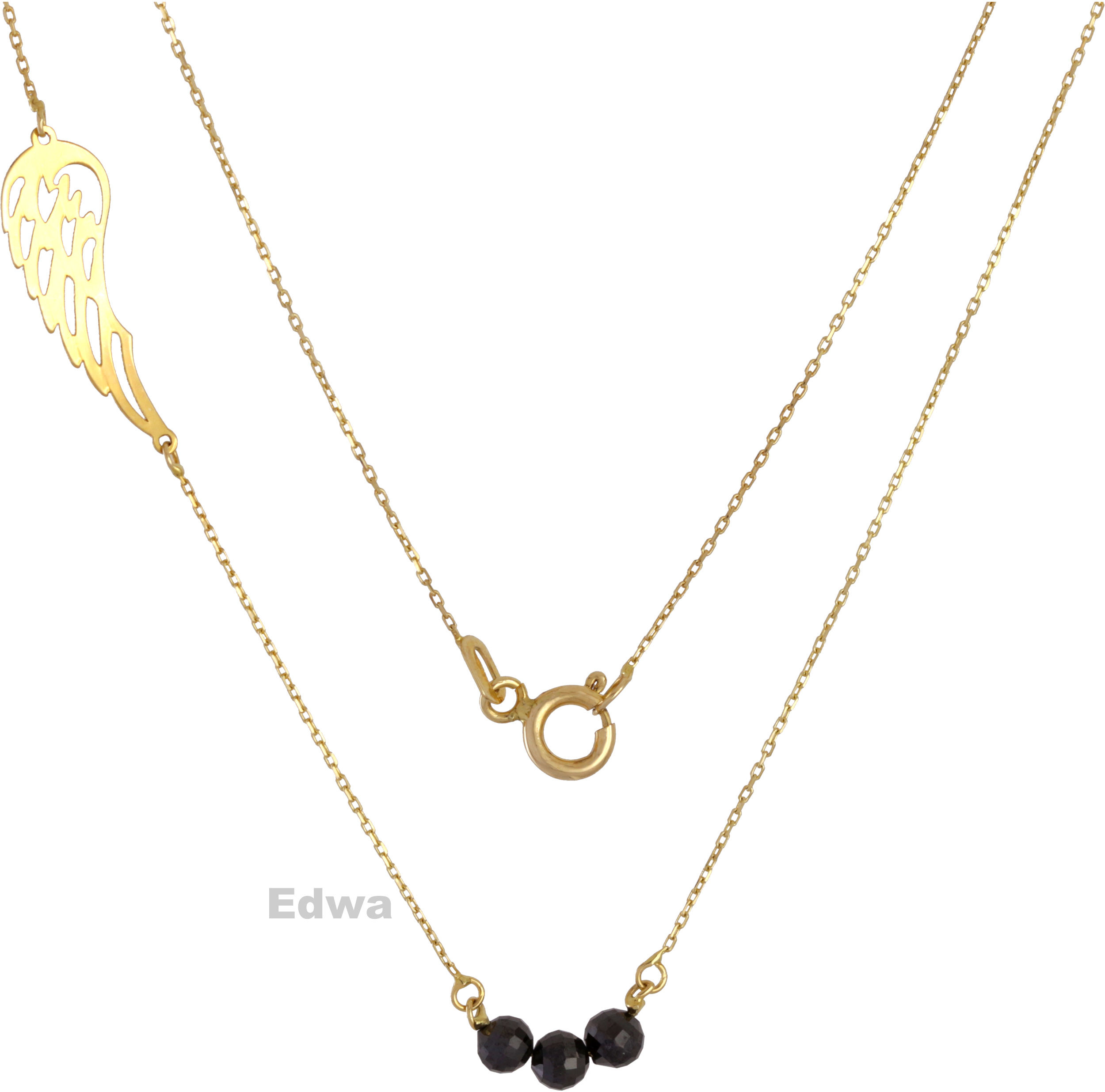 Łańcuszka złota celebrytka z koralikami i skrzydłem Anioła pr.585. 42 cm