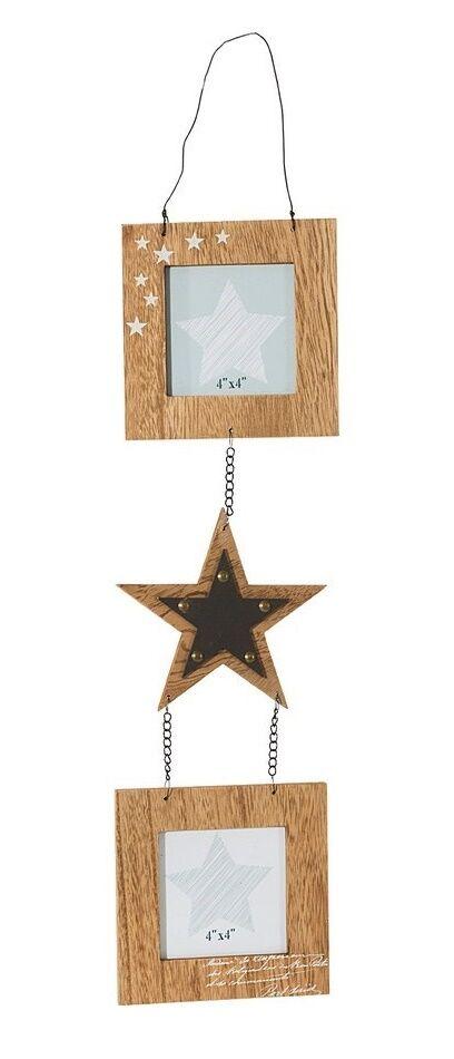 Ramka na zdjęcia 15x1x67 Texa 01 2 szt. drewniana metalowa gwiazdka Eurofirany
