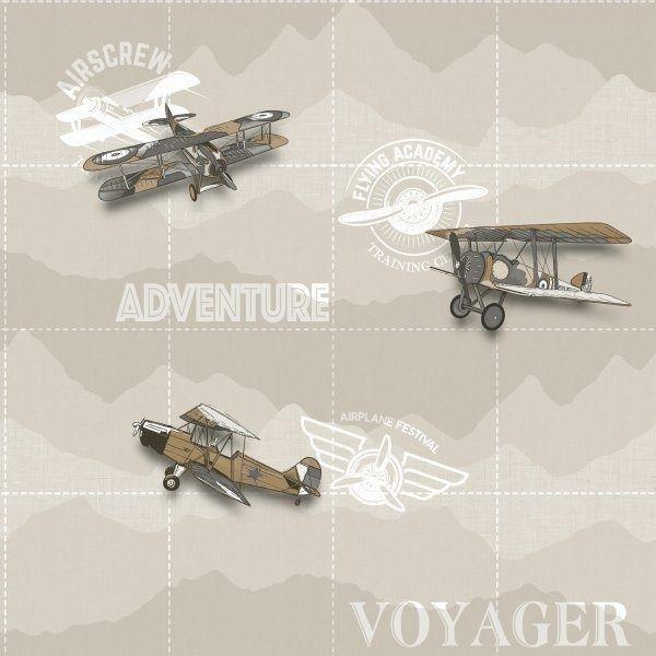 Tapeta beżowa samoloty dwupłatowce vintage babylandia 5413