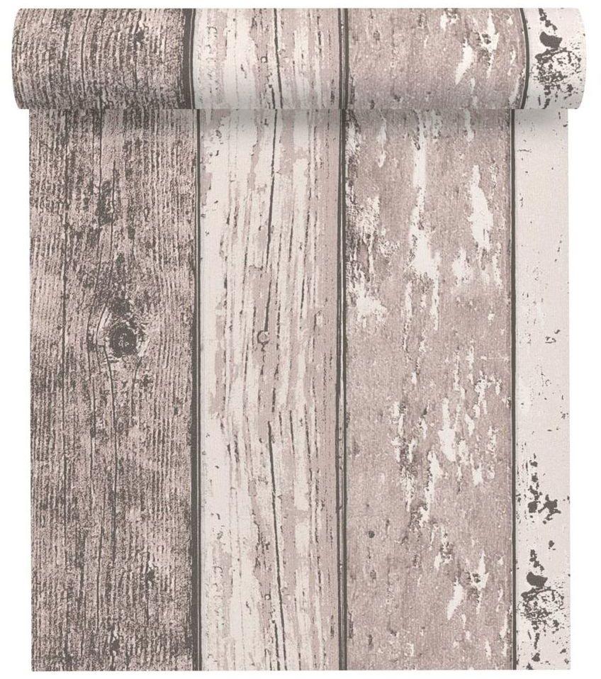 Tapeta Drewno kremowo-brązowa imitacja deski winylowa na flizelinie